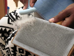 Cleaning a wool carder